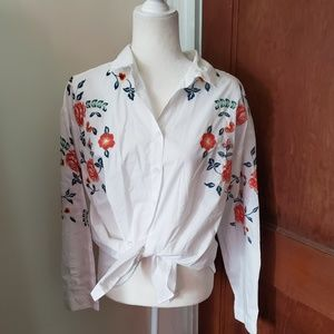 BEACHLUNCHLOUNGE Luciana embroidered shirt NWT